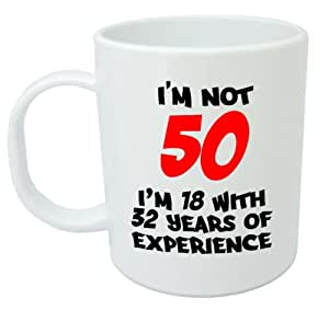 I 39 m not 50 mug funny 50th birthday gifts presents for for Kitchen gift ideas under 50