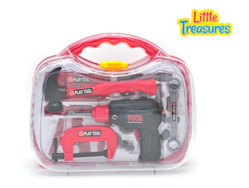 Little Treasures 10 piece deluxe Junior tool series tool play set with working friction saw and carry case for you little handyman fixer man