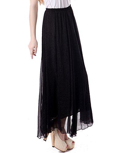 HDE Women's Vintage Pleated Double Layer Chiffon Maxi Retro Skirt (Black)