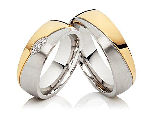 2-Eheringe-Hochzeitsringe-Trauringe-Verlobungsringe-aus-Edelstahl-Bicolor-gold-silbern-mit-3-Zirkonia-gratis-Gravur