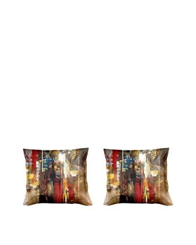 FOOL COLORS by MANIFATTURE COTONIERE Kissenbezug 2er Set Forest beige/rot