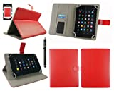 Emartbuy® Black Stylus + Universal Range Red Multi Angle Executive Folio Wallet Case Cover With Card Slots Suitable for HP Slate 7 Plus HD