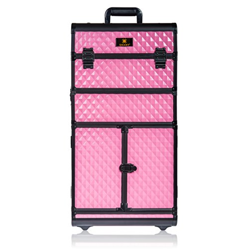 Shany Rebel Series Pro Makeup Artists Rolling Train And Trolley Case, Provocative Rose