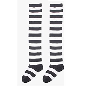 Coromose Girls Striped Thigh High Socks Over Knee Stockings