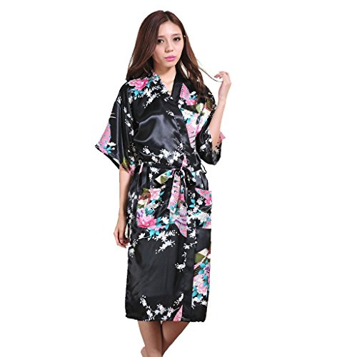 Honeystore Women's Long Silk Kimono Robe Peacock Japanese Satin Dressing Gown