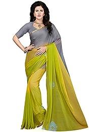 Ishin Women'S Chiffon Saree With Blouse Piece (Ishin-23002Tt_Green & Grey)