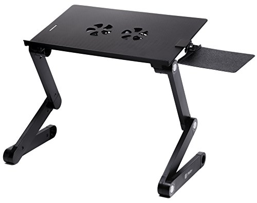 Pwr+® Portable Laptop-Table-Stand with Mouse Pad Fully Adjustable-Ergonomic Mount-Ultrabook-Macbook Light Weight Aluminum-Black Bed Tray Desk Book Fans Up to 17