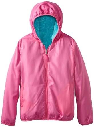 Pink Platinum Big Girls'  Reversible Sherpa Fleece Jacket, Turquoise, 7/8