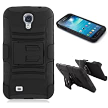 Maxboost Shell Holster Combo - Dual-layer Protective Case for Samsung Galaxy S4 Mini i9190 with Kick-Stand Belt Clip Holster - Fits Any Version for Galaxy S4 mini / Galaxy SIV mini / i9190 includes Models for AT&T, Verizon, Sprint, T-Mobile, International Unlocked