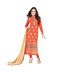 Amyra Women's Georgette Dress Material (AC787-01, Orange)