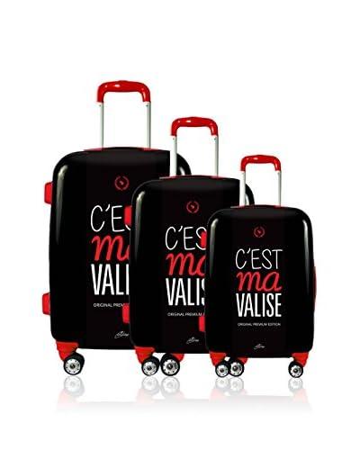 Magellan Set 3 Trolley Rigido C'Est Ma Valise [Nero]