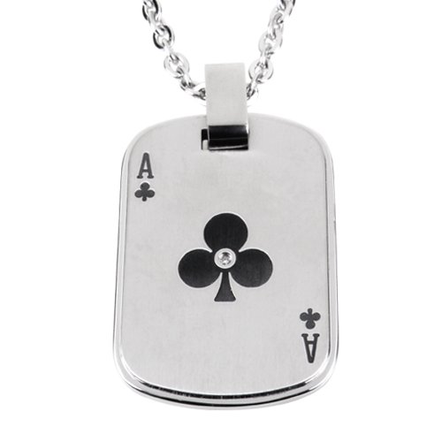 Men's Stainless Steel Ace of Clubs Dog Tag with Cubic Zirconia Pendant Necklace, 20