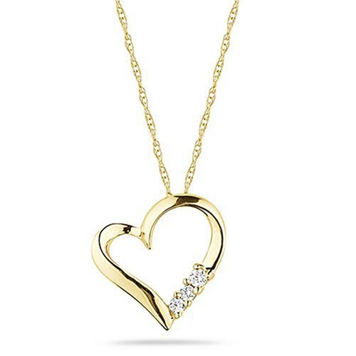 10k Yellow Gold 3-Stone Diamond Heart Pendant Necklace (1/10 cttw, I-J Color, I2-I3 Clarity), 18″