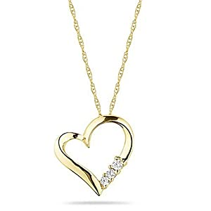 10k Yellow Gold 3-Stone Diamond Heart Pendant Necklace (1/10 cttw, I-J Color, I2-I3 Clarity), 18""