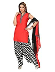Ritu Creation Women's New Cotton Stitched Patyala Suit With Fancy Print Patyala(Red)
