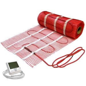 Electric radiant floor heating kit w 30 sqft 120v mat for Electric radiant heat thermostat