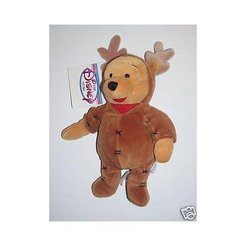 "Disney Bean Bag Plush Winnie The Pooh Pooh Reindeer 8"" - 1"
