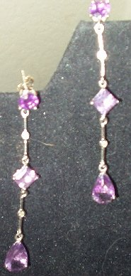 GENUINE AMETHYST AND DIAMOND GEMSTONE DANGLE DROP EARRINGS...CLEARANCE!