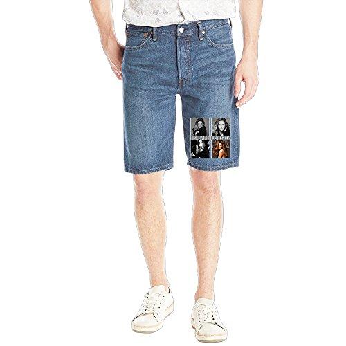 [ASCHO2 Men's Classic Lisa Marie Presley 5-Pocket Shorts Jeans] (Costume De Marie 2016)