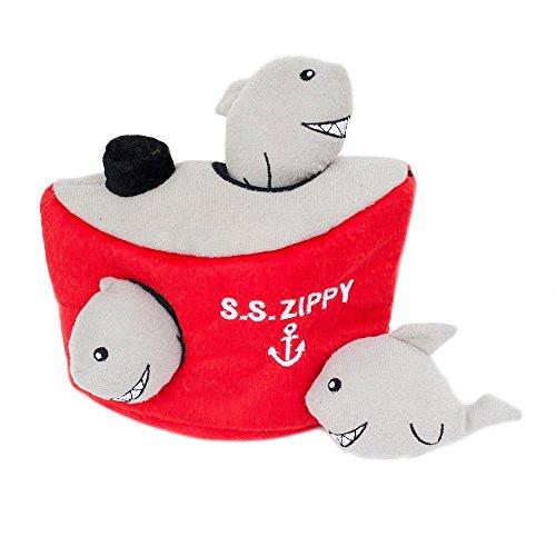 ZippyPaws-Burrow-Shark-n-Ship-Squeaky-Plush-Hide-and-Seek-Dog-Toy