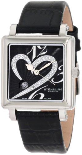 Stuhrling Original Donna 253XL.11151 Amour Aphrodite Courtly Passion Swiss Quartz Diamond Date Black Orologio