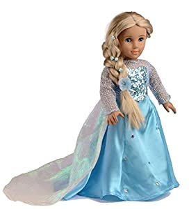 Ebuddy ® Elsa Sparkle Princess Dress Clothes Fits 18 Inch Girl Dolls (FBA) by Ebuddy