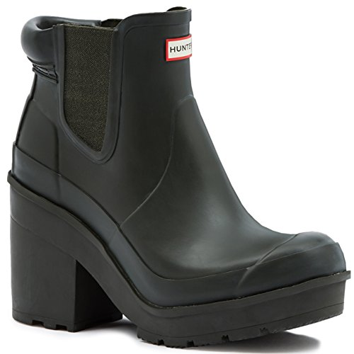 Womens Hunter Original Block Heel Chelsea Snow Wellington Ankle Boots - Dark Olive - 6 - 37