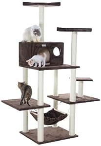 gleepet gp78680623 grand arbre chat avec hamac et grande niche marron animalerie. Black Bedroom Furniture Sets. Home Design Ideas