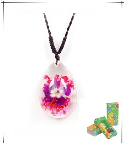 Purple Flower Teardrop Shaped Necklace (Clear) (Real Insect Company Necklace compare prices)