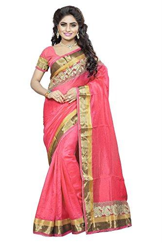 DivyaEmporio Women Cotton Silk Self Print With Blouse Piece Sarees(DE 2826 Hot Pink)
