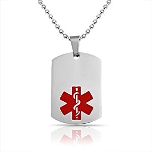 Bling Jewelry Stainless Steel Medical ID Dog Tag Pendant Ball Chain Necklace 20in