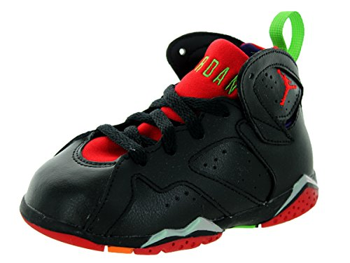 Nike Jordan Toddlers Air Jordan 7 Retro BT Black/University Red/Grn Pls/Cl Gry Basketball Shoe 5 Infants US