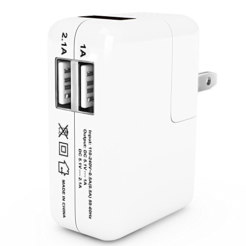 Dual Usb Wall Charger With Flip Down Plug And Indicator (2.1A Port And 1A Port) - 60 Days Money Back Guaranty - Ac Usb Power Adapter - Designed For Apple And Android Phones And Tablets: Apple Ipad Air, Ipad 2, New Ipad 3, Ipad Mini Iphone 5S 5C 5 4S 4 3 3