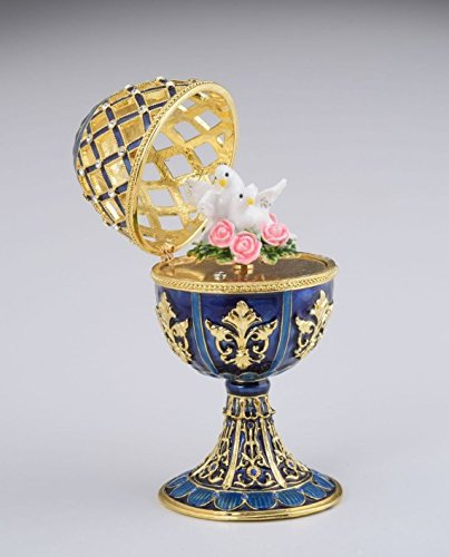 Golden-Blue-Faberge-Egg-with-White-Doves