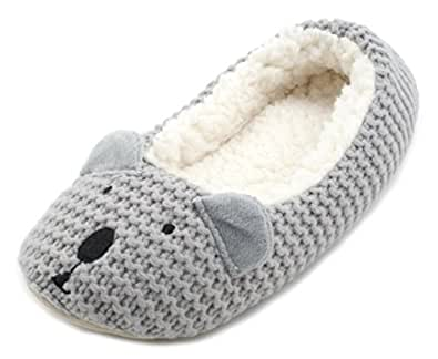 Slumberzzz Ladies Knitted Animal Character Ballet Slippers: Amazon.co.uk: Sho...