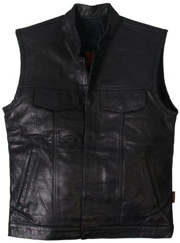 Hot Leathers Men's Heavy Weight Leather Vest (Black, XXX-Large)