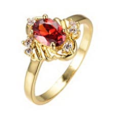 buy Jacob Alex Ring Garnet Red Ruby Cz Engagement Rings Size 7 Women Yellow Gold Filled Jewelry