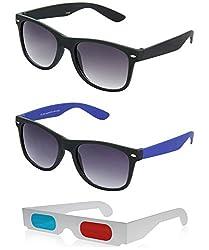 Hrinkar Wayfarer Grey Lens Black Frame, Wayfarer Grey Lens Black Frame & Paper 3D Glass - HCMB269