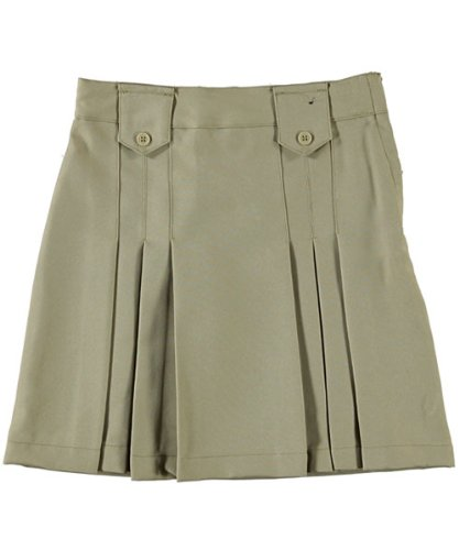 French Toast Front Pleated Skirt With Tabs - Khaki, 12 front-815812