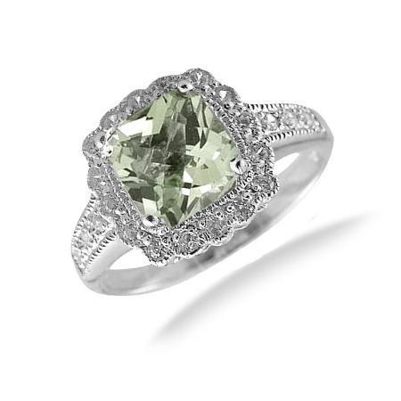 7MM Cushion Cut Green Amethyst Ring In Sterling