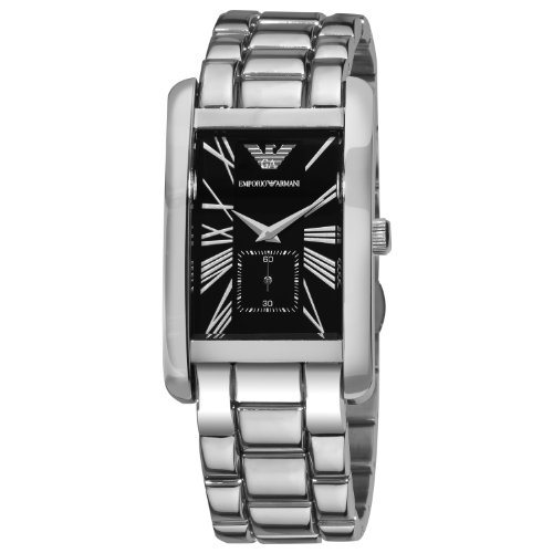 Emporio Armani gents rectangular case with a black dial, stainless steel bracelet watch