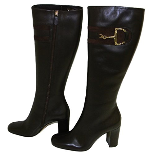 Gucci Brown Knee High Boots With Stack Heel and Gold Horsebit Buckle (6, Brown)