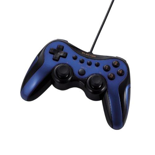 ELECOM ゲームパッド USB接続 アナログスティック搭載 振動/連射 12ボタンブルー JC-U2912FBU -