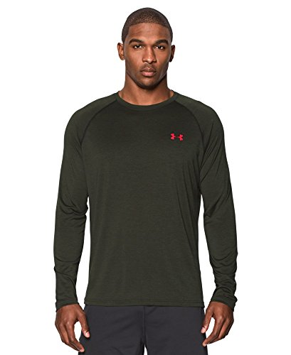 Under Armour Men's Long Sleeve Tech Shirt, Small, Artillery Green/Red