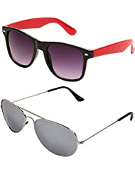 SHEOMY COMBO OF STYLISH SILVER MERCURY AVIATOR GOGGLES AND BLACK RED WAYFARER SUNGLASSES WITH 2 BOX - Free Delivery