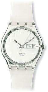 Swatch Women's GK733 Quartz White Dial Plastic Date  Watch