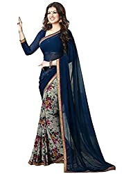 Fashion Forever Women's Blue Color Georgette Fabric Saree