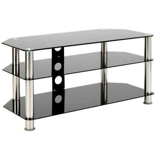 1home GT5 Black Glass TV Stand for 42 to 70 inches Plasma LCD LED 3D TV Silver Tube 120cm