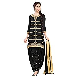 Cenizas Black Colour Mix Cotton Embroidered Semi-stitched Anarkali