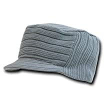 Decky Flat Top Knit Visor Beanie Jeep Cap (One Size, Grey)